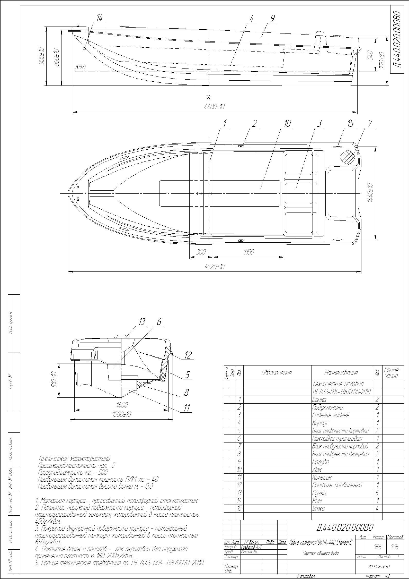чертеж лодки прогресс 2